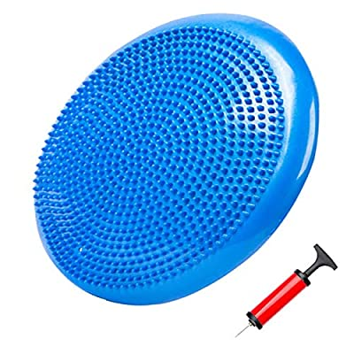 Core Balance Disc Wobble Cushion Trainer Inflated Sensory Wiggle Seat for Exercise Stability,Relief Back Pain & Core Strength,Home or Office Desk Chair Kids Alternative Classroom - with Pump (Blue)