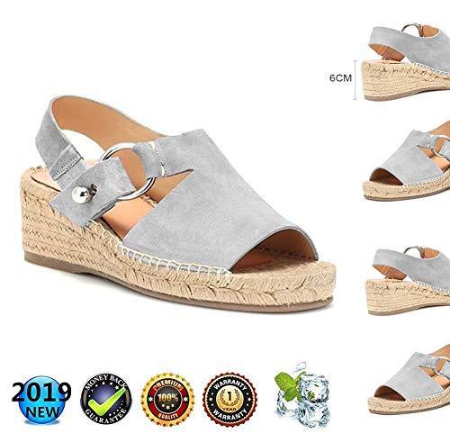 Dames zomer elegant, vrouwen wighak espadrilles, Plateau plat leer Peep Toe comfortabele casual schoenen, 6 cm hoge hak grijs