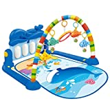 Stecto Gimnasio Piano Bebé-Manta Gimnasio Piano Pataditas Bebés, Gimnasio Bebé con Piano de Juguete, Colgantes de animales plegables Estera de arrastre, para 0-18 Meses, Azul