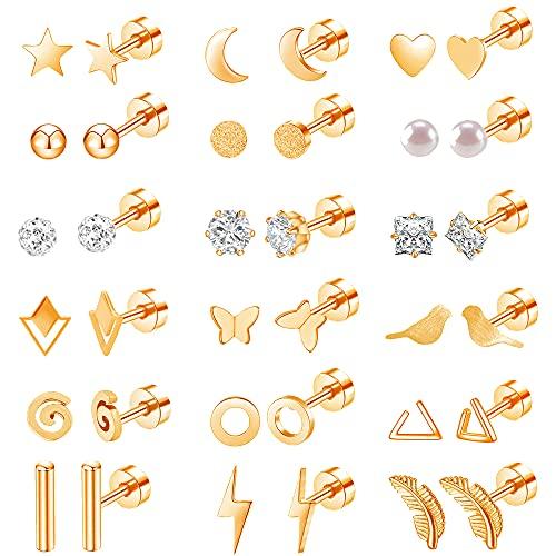 18 Pairs Stainless Steel Stud Earrings Set for Women Men Star Moon Triangle Heart Leaf 20G Cartilage Earrings Hypoallergenic Flatback Earrings Piercing Jewelry (Rose Gold)