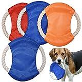 Frisbee para Perros,Forreen 4 Piezas Disco Volador para Mascotas Cuerda de Algodón Natural Vistoso Resistencia Mordedura Perros interactivos Frisbee para Lanzar Entrenar Jugar Perros,Color Aleatorio