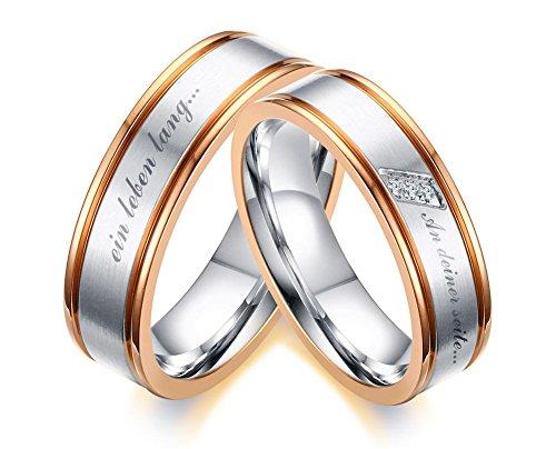 Vnox 2 Stück Edelstahl Zirkon Diamond Commitment Engagement Versprechen Ringe Sets für Paar Liebe mit Gravur
