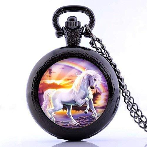 Reloj de bolsillo de unicornio blanco vintage con colgante chapado en negro, hecho a mano, para reloj de bolsillo, collar, joyería, impresión, regalo