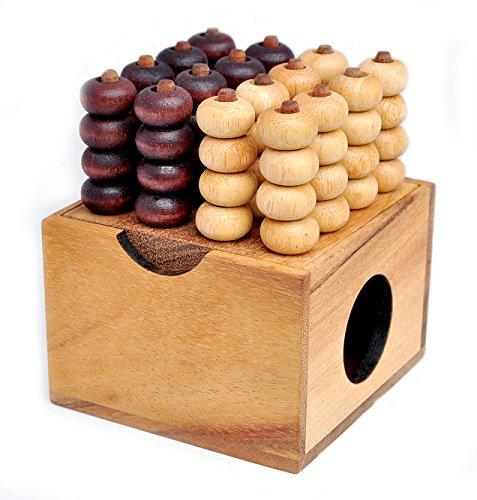 Logica Spiele art. VIER GEWINNT 3D - Brettspiele aus Holz - Strategiespiel für 2 Spieler - Reiseversion - Box mit Deckel
