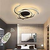 Luminaire Plafonnier LED Salon Dimmable Salle Manger Chambre Lampe élécommande, Moderne Art Design Suspension Lustre Métal Acrylique Écran Plafonniers Cuisine Salle de Bain Couloir Ø56*H10cm (Noir)