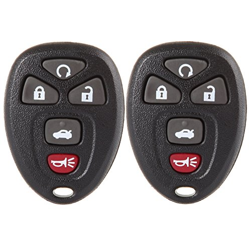 SELEAD 5 Buttons Black Car Key Fob Clicker Transmitter SHELL CASE fit for Buick Allure LaCrosse Chevrolet Malibu Cobalt 2004-2012 Keyless Entry Remote Control OUC60270A 2pcs US Stock
