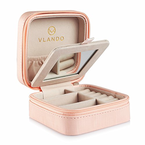 Vlando Small Travel Jewelry Box Organizer - Display Case for Girls Women Gift Rings Earrings Necklaces Storage with Mirror, Pink