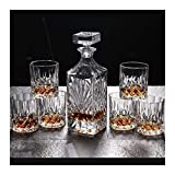 SOAR Scaffale portabottiglie Porta Bottiglie da Vino Whisky Decanter e Bicchieri Set 750ml Piombo di Cristallo Libero Whiskey Decanter con 6 Whisky Occhiali 7-Piece Gift Box