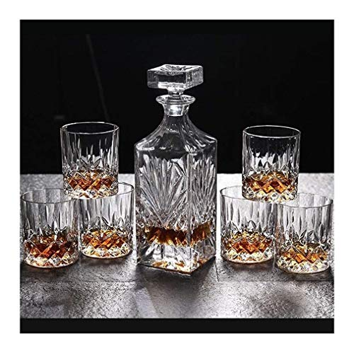 SOAR Scaffale portabottiglie Porta Bottiglie da Vino Whisky Decanter e Bicchieri Set 750ml Piombo di Cristallo Libero Whiskey Decanter con 6 Whisky Occhiali 7-Piece Gift Box