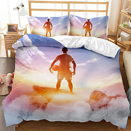 QXbecky Bedding Set Earth Basketball Flame Sports Quilt Cover Pillowcase 2, 3 Piece Set of Microfiber Warm and Breathable 230x260cm