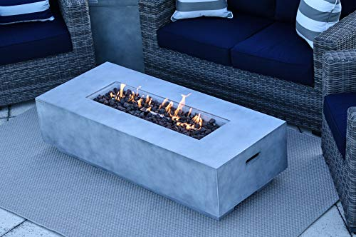 AKOYA Outdoor Essentials 56' Fiber Concrete Rectangular Outdoor Propane Gas Fire Pit Table in Gray