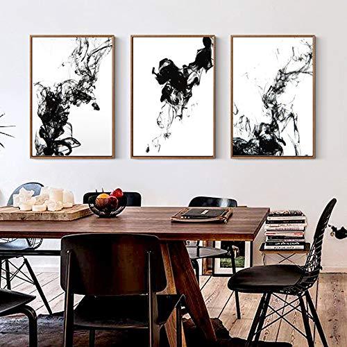 Wleyy kunstschilderij, zwart en wit, vloeibare inkt diffusie, trajector, canvas, muurschildering, abstract, kunstdruk