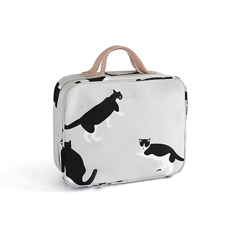 NEOVIVA 化粧ポーチ 大容量 メイクポーチ コスメポーチ トラベル コンパクト 旅行 化粧品収納バッグ 防水 軽量 コスメケース コスメバッグ 洗面用具入れポーチ バスルームポーチ 持ち運び便利 収納 小物入れ 猫 Milk