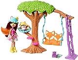 Enchantimals Coffret L'Arbre Enchanté du Renard, Mini-poupée Felicity Renard, Figurine Animale Flick avec balançoire et accessoires, jouet enfant, FRH45