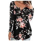 Blusa De Mujer con Estampado Floral De Manga Larga Henley con Cuello En V Plisado Informal TúNica Fluida Camiseta OtoñO Camisetas