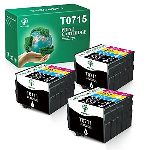 GREENSKY T0715 Reemplazo para Epson T0711 T0712 T0713 T0714 Cartuchos de Tinta Compatibles con Epson Stylus SX218 SX200 SX205 SX100 SX105 S20 S21 SX400 D78 D92 DX4000 DX7400 BX300F BX610FW(15 Pack)