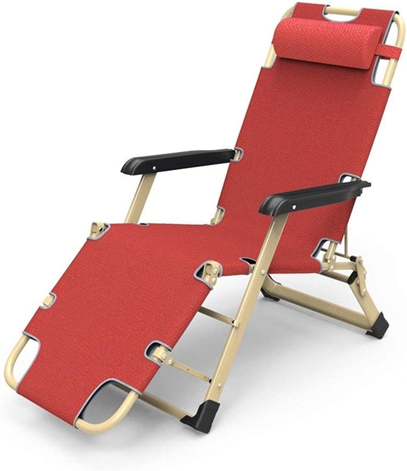 Patio Chairs Reclining for Heavy People Outdoor Beach Lawn Camping Portable Chair Folding Garden Deck Chair with Neck Pillow Support 200kg Red