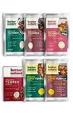 Better Nature vegane 100% BIO Fleischalternative aus Tempeh – 6x unterschiedliche Packungen leckere pflanzliche alternativen zu Fleisch mit vielen Proteinen und Ballaststoffen