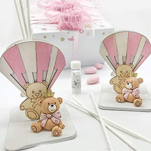 Ingrosso e Risparmio Difusor de esencias de madera con globo aerostático blanco y rosa y oso - Ideas útiles para regalo de bautizo de niña - Incluye caja de regalo (con caja naranja)