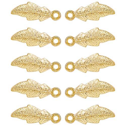 Artibetter 10 Piezas de Colgantes de Dijes de Hojas de Aleación de Metal de Color Dorado para Hacer Joyas Diy Collar de Hallazgos