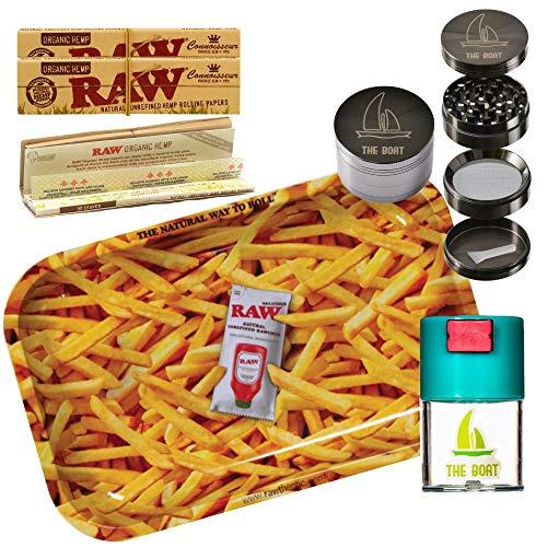 Kit para fumar RAW Bandeja para liar Patatas Fritas pequeña 27,5 x 17,5 cm + RAW Organic Connoisseur Kings Size (3 unidades) + Bote hermético antiolor + Grinder THE BOAT 4 partes con rascador.