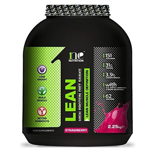 1ne Nutrition Lean Diet Fuel 2.25kg Ultralean Weight Control Meal Replacement Shake Protein Powder (2.25kg, Strawberry)