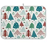 xigua Tapete absorbente para secar platos de árboles de Navidad, escurridor de platos de microfibra reversible plegable, protector para encimeras, fregaderos, mesas, etc., 18 x 24 pulgadas