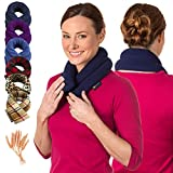 Microwave Heating Pad for Neck and Shoulders - Non Electric Heated Neck Pillow - Microwavable Neck Brace for Sleeping - Heat Packs for Pain Relief - Wheat Filled Bean Bag by Sunnybay (Navy Blue)