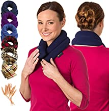 SunnyBay Heated Pillow Shoulders & Neck Wrap – Microwavable & Freezer-Safe Wheat-Filled Heating Pad Helps Relieve Tight, Sore Muscles, (Navy Blue)
