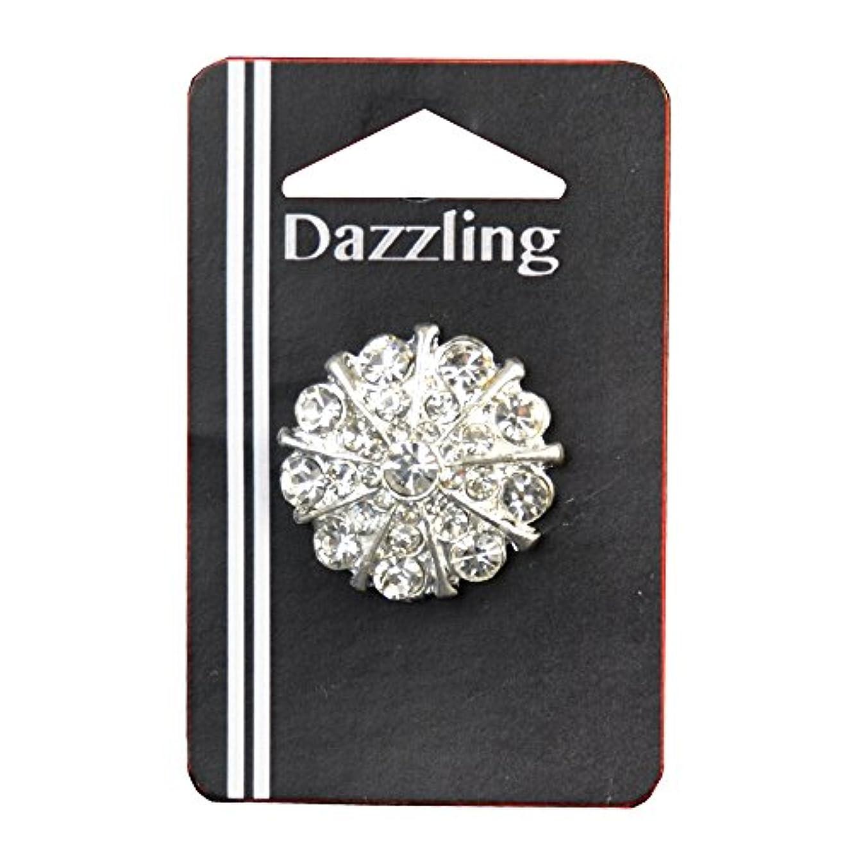 Belagio Enterprises 1-inch Floral Rhinestone Button 1 Piece, Silver/Crystal