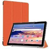 Huawei MediaPad T5 10 タブレット ケース TopACE 超薄型 スマートケース スタンド機能付き 高級PU レザーケース Huawei MediaPad T5 10 10.1インチ対応 (オレンジ)