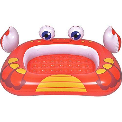 Jilong Crab Pool 115x95x23 cm Kinderpool mit aufblasbarem Boden Planschbecken mit Sicherheitsboden Schwimmbad im Krabbe Design Kinder Schwimmbecken für Garten und Terasse