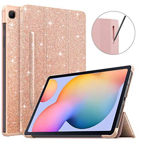 MoKo Custodia Protettiva Compatible con Galaxy Tab S6 Lite 10.4 2020 SM-P610 P615 con Supporto Penna, Cavaletto Tablet, Anti Graffi, Urti Avvio Arresto Automatico, Case - Rosa Glitter