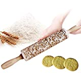 Uspacific Embossing Rolling Pin, Flower Pattern Wooden Laser Engraved Embossed Printing Rolling Pin DIY Tool for Homemade or Christmas Cookies