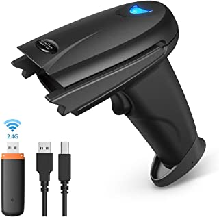 HooToo Barcode Scanner 2.4Ghz Wireless and Wired 2 in 1 Handheld Bar Code Scanners USB 1D Automatic Barcode Reader with 32-bit Decoder,for Retail, Inventory Management, Compatible with Common Systems