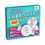CraftLab Embroidery Kit for Beginners, Kids Craft Starter Kit Gift for Ages 7 to 13, Includes 10 Projects, Embroidery Hoops, Fabric, Patterns, Floss, Needles, Cross Stitching Supplies