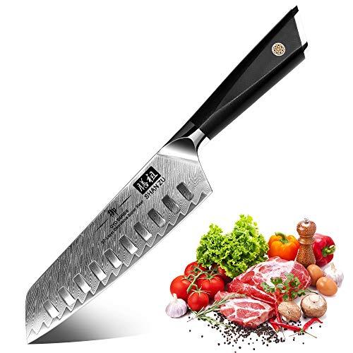 SHAN ZU Kochmesser, Santokumesser Küchenmesser 18cm Damaskus AUS-10 Edelstahl Scharfe Messerklinge Ergonomischer G10 Griff Exquisiter Geschenkverpackun