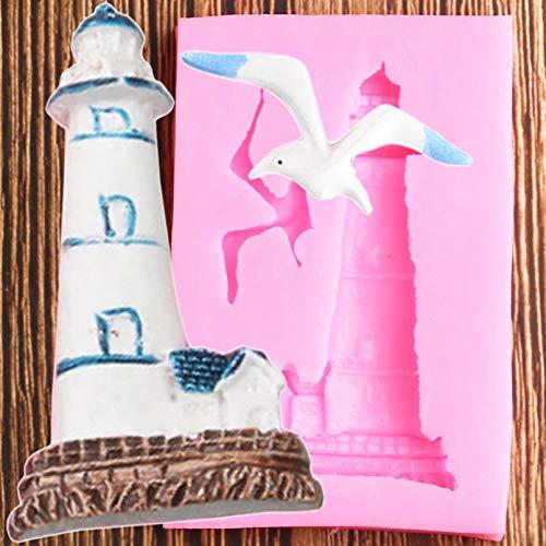 YAJIAO Kuchen Silikonform Vögel Silikonformen Leuchtturm Möwe Fondantform DIY Party Kuchen DekorationswerkzeugeCandy Clay Schokoladen Gumpaste Formen