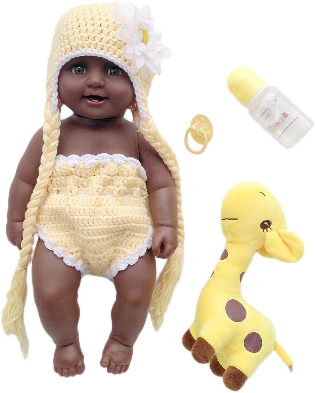 VNEIRW 50cm Lebensecht Schwarze Puppen Waschbar Reborn Babypuppe Realistische Baby Puppe mit Mütze Stricken, mit 1 x Flasche, 1 x Schnuller, 1 x Giraffenpuppe, 1 x Strickwaren B07M6DNSY7 Fuxin  | Exquisite (mittlere) Verarbeitung