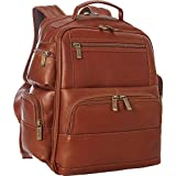 Claire Chase Executive Leather Laptop Backpack in Saddle