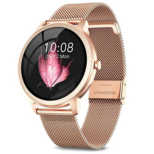 NAIXUES Smartwatch, Reloj Inteligente para Mujer, Reloj Deportivo Impermeable IP67 con Monitor de Sueño Pulsómetro Podómetro Notifica Whatsapp, Pulsera Actividad Inteligente para Android iOS (Oro)