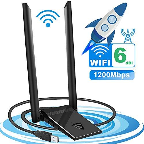 Tokenhigh Adaptador USB WiFi 1200Mbps, Antena USB WiFi Dongle Wireless USB 3.0 Dual Band 2.4GHz/5.8GHz, Receptor de Red para PC/Desktop/Laptop, Windows10/8/7/XP, Linux Mac OS
