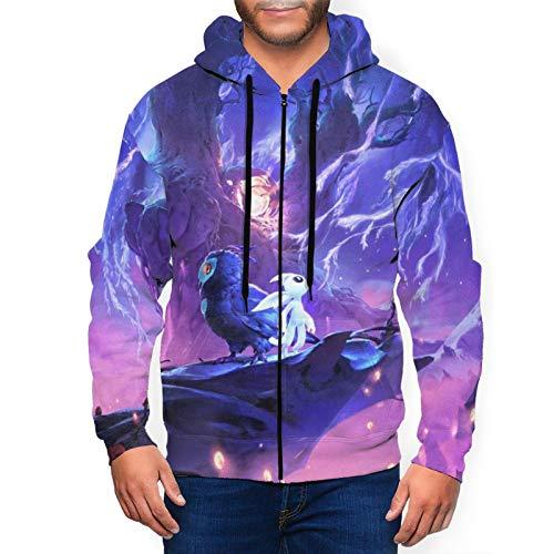 Ori Will Wisps - Suéter de manga larga con capucha para hombre con cremallera para deportes, estilo informal, de aprendizaje, suave, cómodo y coose XL, color negro