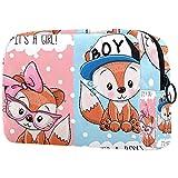 Bolsa de cosméticos para Mujeres Lindo bebé Zorros niño y niña Bolsas de Maquillaje espaciosas Neceser de Viaje Organizador de Accesorios