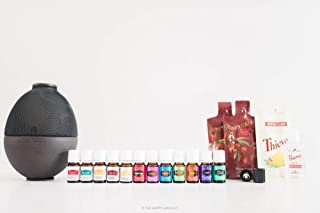 Young Living Premium Starter kit with Dewdrop Home Rainstone Aria Diffuser Essential Oils Collection NingXia Red 11 5ml Oils (Rainstone Diffuser)