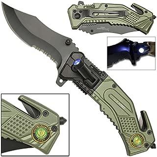 LED Flashlight Tactical Rescue Pocket Knife US Army