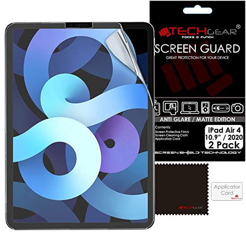 TECHGEAR 2 Pack iPad Air 4, 4th Generation Anti Glare Screen Protectors, MATTE Screen Protector Guard Cover Designed For iPad Air 10.9' 2020
