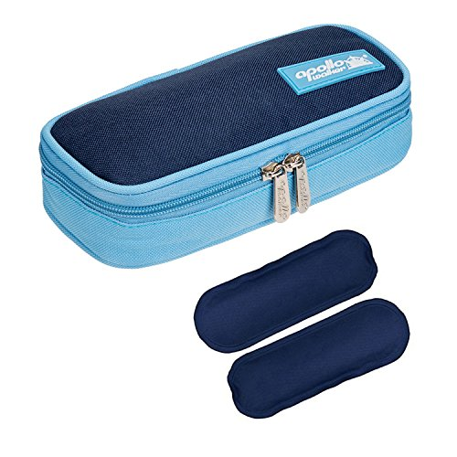 Bolsa diabética ONEGenug Enfriador de insulina Bolsa Bolsa de jeringas para la diabetes, insulina y medicamentos 20x4x9cm (azul + 2 Bolsas de hielo)