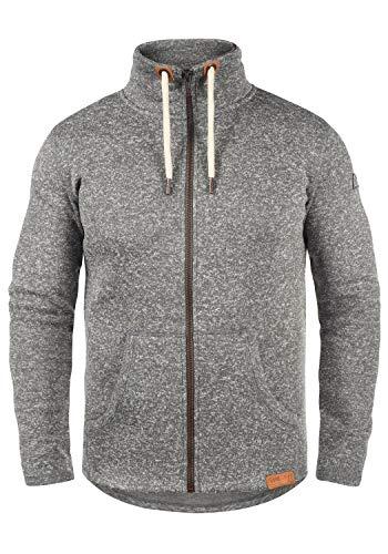 !Solid Luki Herren Fleecejacke Sweatjacke Jacke Mit Stehkragen Und Melierung, Größe:XL, Farbe:Grey Melange (8236)