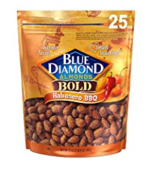Contains 1 - 25 ounce bag of blue diamond bold habanero BBQ almonds Almonds coated in bronco busting barbecue seasoning and habanero heat Perfect for snacking 3 gram fiber, 0 gram trans fat Cholesterol free